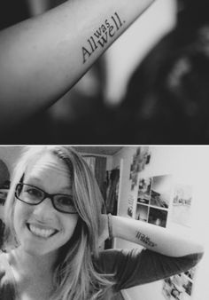"""bloodyhellhptattoos: """" Since October of 1998 I have had the joy and pleasure of waiting for a new Harry Potter book. I have memories of waiting in line at midnight to get the newest book, and staying up for over 24 hours to finish reading it. Hp Tattoo, Piercing Tattoo, Get A Tattoo, Piercings, Lettering Tattoo, Typographic Tattoo, Tattoo Small, Tattoo Flash, New Harry Potter Book"""