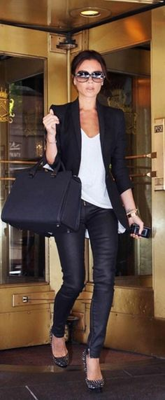 Victoria Beckham black skinnies, white t, black blazer and heels....with I had the Birkin but a Kors Selma is a good sub :)