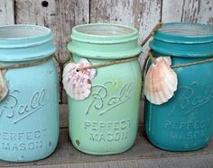 3 mason jars, blues, beach, wedding, turquoise, seafoam green, sea shell, distressed, pint jar, old, vintage