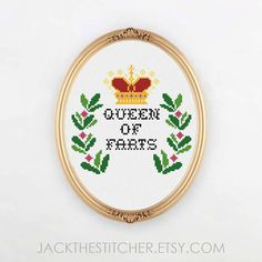 PDF ONLY Queen of Farts Modern Subversive Cross Stitch