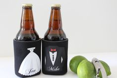 Wedding Accessories,Wedding Party Favors, Personalized coozie, Beer Coozie, Koozie, Stock the Bar party, Bride and Groom Coozies, www.ArenLace.com $9.95