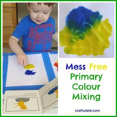 Mess Free Primary Colour Mixing This mess free painting activity was quick to set up and was a great introduction to primary colour mixing.