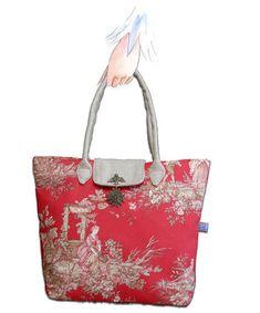 Tuto Le sac façon pliage en toile de Jouy rouge - dans mon bocal