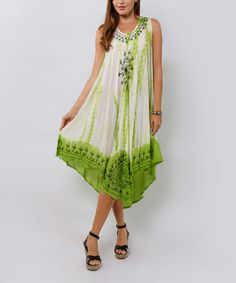 Another great find on #zulily! Green Embroidered Tie-Dye Tunic by La Moda Clothing #zulilyfinds