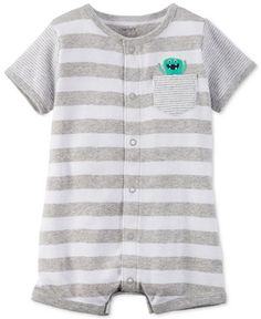 Made from soft cotton, this snap-front striped romper from Carter's showcases monstrously cute applique details for added fun. | Cotton | Machine washable | Imported | Snaps at front and bottom | Foot