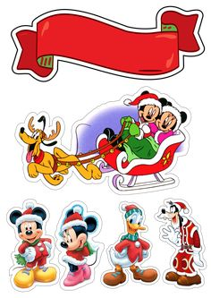 Christmas Topper, Mickey Christmas, Christmas Design, Bolo Mickey E Minnie, Mickey Ears, Christmas Decoupage, Christmas Crafts, Peppa Pig Stickers, Minnie Mouse Clipart