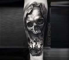 Skull and cemetery tattoo by Eliot Kohek