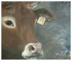Koe 100x 120 Landelijke kunst Judith Razenberg