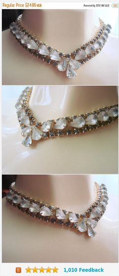 SALE Vintage 1960s Teardrop Champagne Crystal Glass Necklace / Gray Rhinestones / Gold Tone / Mid Century / Jewelry / Jewellery https://www.etsy.com/JoysShop/listing/549180160/sale-vintage-1960s-teardrop-champagne?ref=shop_home_active_2