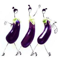 Edible Ensembles: Eggplant Art Print by Gretchen Roehrs - X-Small Cool Instagram, Instagram Fashion, Whimsical Fashion, Quirky Fashion, Illustration Mode, Food Illustrations, Fashion Illustrations, Flower Fashion, Fashion Sketches