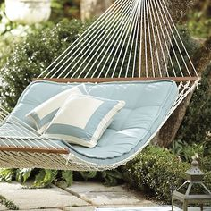Where can I find porch swing? Shop Ballard Designs for the perfect porch swing and outdoor hammock for stylish outdoor relaxation! Backyard Hammock, Rope Hammock, Outdoor Hammock, Hammock Swing, Porch Swing, Hammock Ideas, Diy Hammock, Hammock With Canopy, Porch Bed