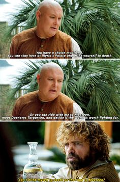 Conleth Hill as Varys and Peter Dinklage as Tyrion Lannister (season 5, episode 1)