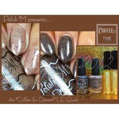 "#PolishM is releasing a very Limited Edition set for the fall season the ""Coffee & Desert"" Quad. #PRSample  The quad consists of 2 deliciously scented cuticle oils: Café Mocha & Pecan Pie and 2 beautiful polishes: Instant Human (Just Add Coffee)- a rich mocha brown holographic base pack with various shades and shapes of glitters & Life Is Uncertain (Eat Dessert First)- a toasted beige base with holo shimmer and glitter of various size and color.  Want details on when the ""Coffe & Dessert""…"