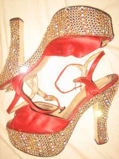 "FRED SLATTEN vtg 70s Disco 6"" Heel RHINESTONE & RED SATIN PLATFORM HEELS Shoes 8"