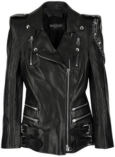 Black Leather Jacket #balmain