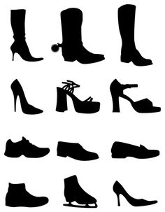Free Vector Set of 12 Shoe Silhouettes Image Preview