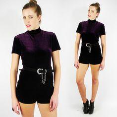 vtg 90s VELVET bandage BODYCON ROMPER cat play jump suit mini dress shorts S/M $58.00