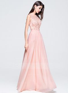 A-Line/Princess Scoop Neck Floor-Length Chiffon Prom Dress With Beading Appliques Lace Sequins (018070349)