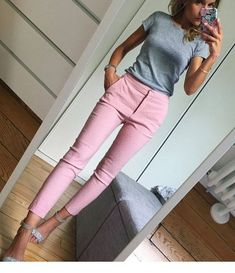 Grey top and pink pants look idea