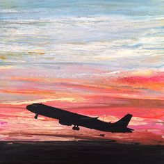 "Taking Off. Original acrylic painting on canvas by award-winning Ithaca artist Ivy Stevens-Gupta. Square artwork measures 12"" x 12"". High gloss finish. One of several paintings in series titled, ""In Plane View: Skyscapes and Abstract Art Inspired by Aviation, Ithaca airport, pink and blue skies, silhouette of jet."