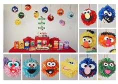 Tutorial - DIY Tissue Paper Pompoms for a Sesame Street Party...cute!