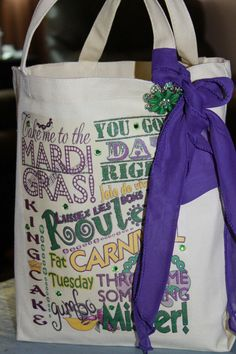 Iron this subway art onto a muslin bag, take it to the parades and fill it up with throws!   Mardi Gras Printable Subway Art Graphic Design Instant Download. $7.99, via Etsy.