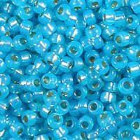 Miyuki 11/0 (2mm) Dyed Aqua Blue Silver-Lined Alabaster glass seed beads, colour number 647, a bright turquoise blue with a glow. UK seller.