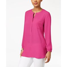 Jm Collection Pleated-Back Blouse, Created for Macy's (740 ARS) ❤ liked on Polyvore featuring tops, blouses, steel rose, pleated back blouse, henley top, pink top, rose blouse and pink blouse