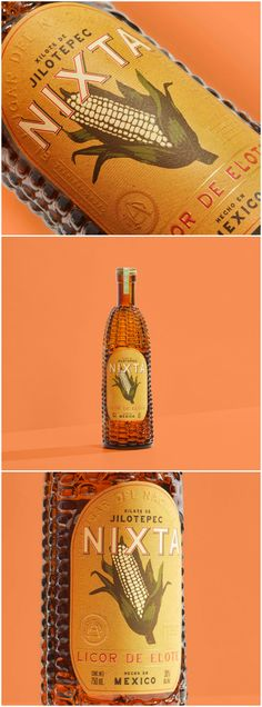 WeHolden Pays Homage to the Birthplace of Corn With Nixta Licor - World Brand Design Food Packaging, Packaging Design, Branding Design, Liquor Bottles, Glass Bottles, Brand Architecture, Article Design, Fish Oil, Vintage Recipes