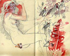 """showslow: """" Stephanie Brown's Moleskine """" Moleskine Sketchbook, Sketchbook Drawings, Art Drawings, Drawing Sketches, Sketchbooks, Art And Illustration, Artist Journal, Art Journal Pages, Art Journals"""