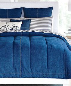 Denim Inspiration for Bedding. T Hilfiger Denim Bedding. Denim Comforter, Quilt Bedding, Denim Furniture, Denim Decor, Denim And Diamonds, Jeans Denim, Recycled Denim, Blue Bedroom, New Room