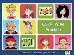 Quick Write FREEBIE...Creative Writing, Education, Writing  3rd, 4th, 5th, 6th, 7th, 8th, 9th, 10th, 11th, Homeschool  Literacy Center Ideas...Students will assume the identity of a character and use a random word as springboard for a timed writing exercise.