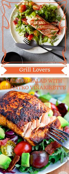 Grill Lovers' Amazing Salmon Salad with Cilantro Vinaigrette Recipe   #recipes #foodporn #foodie #grilling