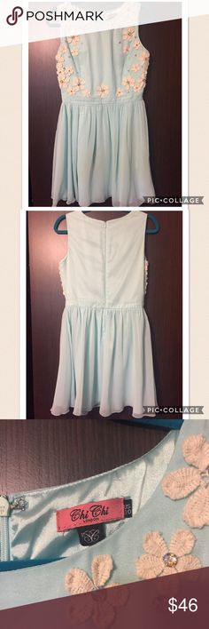 Mint Green Dres Only worn once when I was out at a show. It is a gorgeous dress great for being out especially during the spring or summer. Feel free to offer or ask any questions you may have. Chi Chi Dresses Mini