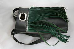 Kabelky - Lora 2  zelené strapce