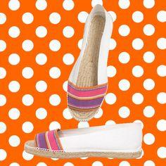 KIKA Flat white espadrilles at EspadrillesEtc Designer Espadrilles, Peep Toe Espadrilles, Striped Espadrilles, Striped Flats, White Flats, Halfmoon Cay, Castaner Espadrilles, Boynton Beach, Coral Gables