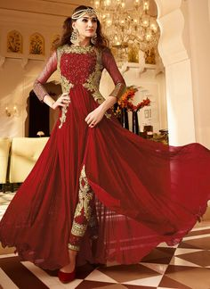 Red Georgette Embroidered Center Slit Straight Pan
