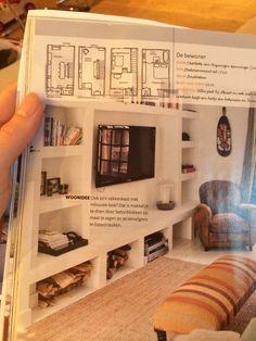 De witte kast die in de muur is gestuukt. Voor de living met tv erin en openhaard hout?