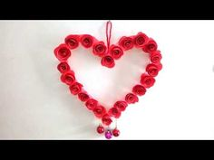 DIY Paper Rose Wall Hanging  Paper Heart Room Decoration Ideas  Paper He...