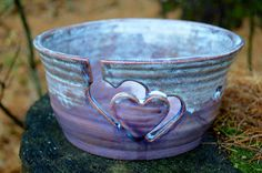 FREE BOOK with Yarn Bowl Large Hand Thrown With Hearts Custom Order by TheFathersMarket on Etsy