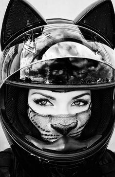 AsphaltAngel-1.tumblr.com #meow #biker #motorcycle #helmet