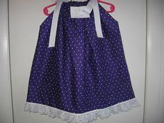 handmade pillow cass dress/ PURPLE POKA DOTS 3T #Handmade #PILOWCASS #Casual
