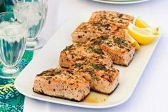 Barbecued salmon with lemon and herbs