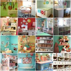 Oh this sewing studio collage from This Is Kelly Mccaleb's Blogmakes me super happy! Great inspiration for future sewing studio spaces. :) I am very blessed to have a sewing studio but it is a small room. Oh the things I will do when we one day more from our townhouse to a house!