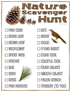Image result for FREE CAMPING SCAVENGER HUNT PAGES
