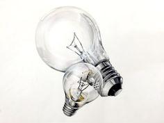 개체,소재,전구,색채정밀,개체표현,기초디자인 Watercolor Drawing, Painting & Drawing, Hyperrealistic Art, Light Bulb Art, Pencil Shading, Still Life Drawing, Object Drawing, Industrial Design Sketch, Basic Drawing