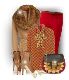 """""""Brown,Orange and Red"""" by elona-makavelli ❤ liked on Polyvore featuring New Look, Gucci, Jimmy Choo, Chloé and Lord & Taylor"""
