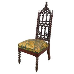 American Gothic Revival Carved Mahogany Side Chair   Circa 1850