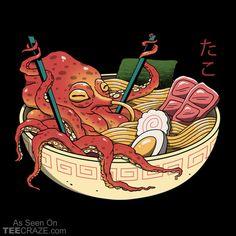 Tako Ramen Graphic Hoodie by Vincent Trinidad Art - Unisex Pullover Black - MEDIUM - Front Print - Pullover Japan Design, Art And Illustration, Japan Art, Cute Art, Art Inspo, Framed Art Prints, Food Art, Art Drawings, Character Design