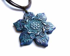 Flower necklace polymer clay jewelry in teal by MoonsafariBeads, $19.00